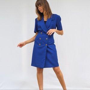 VINTAGE 80's COBALT BLUE POWER SUIT DRESS